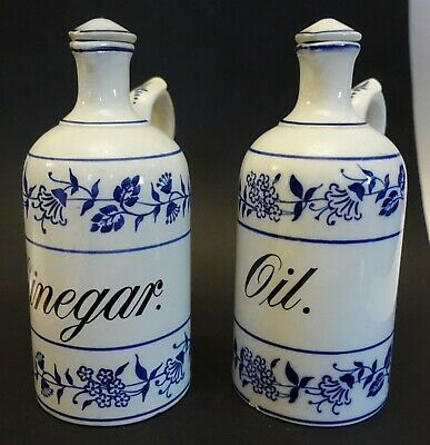 abcBX GERMANY VINTAGE POTTERY VINEGAR AND OIL large cruets, blue & white 7""