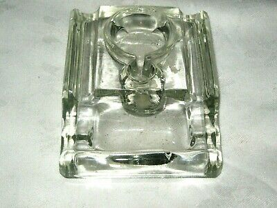 Vintage Clear Glass Single Pot Desk Inkwell Fountain Pen Rest Stand (no cover)