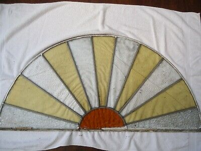 "VINTAGE / ANTIQUE LEADED- STAINED GLASS-  HALF CIRCLE / SUN RAY 46"" x 22.5"""