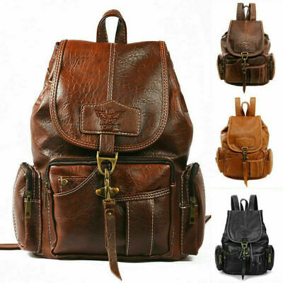 Fashion Women Leather Backpack Vintage Shoulder Bag Ladies Backpack Handbag AU