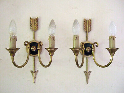 Pair Antique French Gilt Bronze Empire 2 Branch Wall Sconces, With Arrows