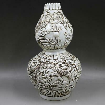 Chinese ancient antique hand make Relief  Dragon pattern  gourd vase a979