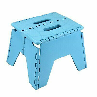 Blue Folding Handy Step Stool Kitchen Bathroom Storage Collapsible Multi Purpose