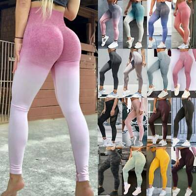 Women's High Waist Yoga Pants Seamless Ombre Leggings Sports Fitness Trousers A6