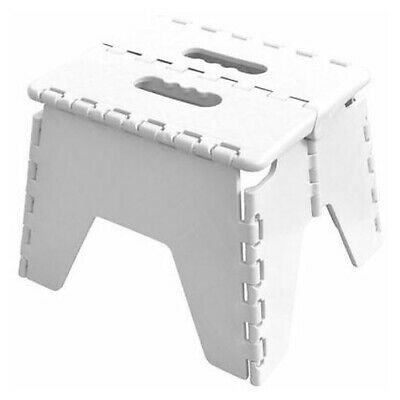 White Folding Handy Step Stool Kitchen Bathroom Storage Collapsible Multi Use