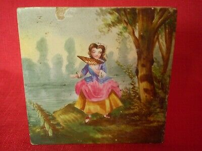Stunning Antique Hand Painted Tile, Lady On River Bank Fanning Herself