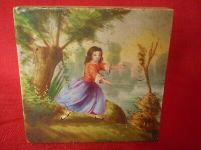 Stunning Antique Hand Painted Tile, Young Lady On Riverbank Dancing