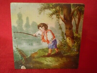 Stunning Antique Hand Painted Tile, Boy On Riverbank Fishing