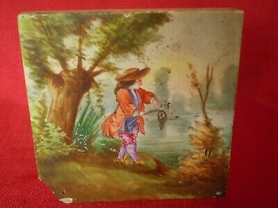 Stunning Antique Hand Painted Tile, Young Man On Riverbank Fishing