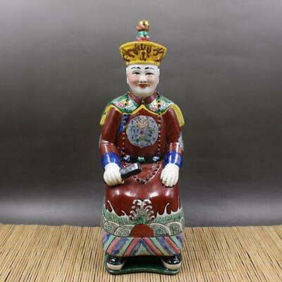 Chinese ancient antique hand make Pastel QIANLONG statue a1005
