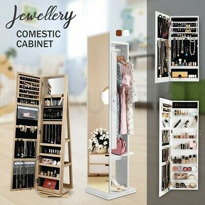 Mirror Jewellery Cabinet Makeup Storage Organiser Drawer w/LED Light White/Black