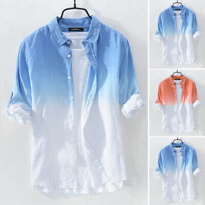 Mens Cotton Linen Casual Loose Blouse Long Sleeve Button Down Shirts Tops Tee