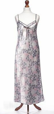 Per Una M&S Luxe Long Grey & pink Floral Satin Chemise Nightie Size 8 NEW
