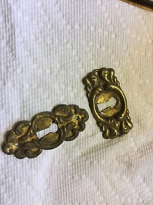 2 Brass Escutcheon Key Hole for Refinishing Project or DIY Antique Vintage
