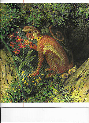 Monkey Tapestry Needlepoint Chart in Colour Candace Bahouth Ehrman
