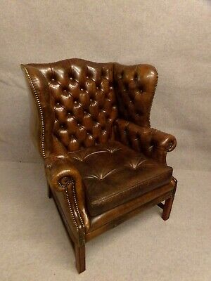 STUNNING CIGAR BROWN LEATHER CHESTERFIELD WINGBACK ARMCHAIR free local delivery