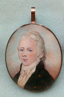 18th / 19th Century MINIATURE PORTRAIT Painting in Mourning Hair Frame 15ct Gold