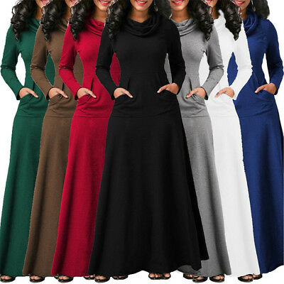 Plus Size Women Dress Cowl Neck Casual Long Sleeve Tunic Swing Fall Winter S-5XL