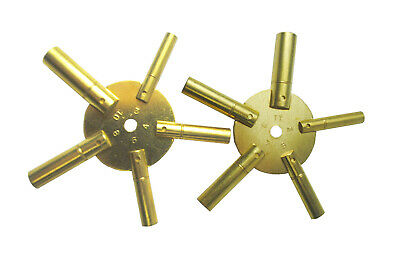 Set x 2 Brass Spider Clock Winding Keys. Odd and Even, 2-10 and 3-11. J1159