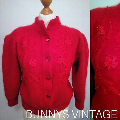 VINTAGE 1960s 50s red ribbon embroidered beaded angora cardigan jumper 40 uk16