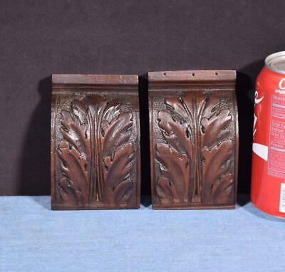 "*Pair of 4"" French Antique Corbels/Pillars/Brackets in Walnut Wood Salvage"