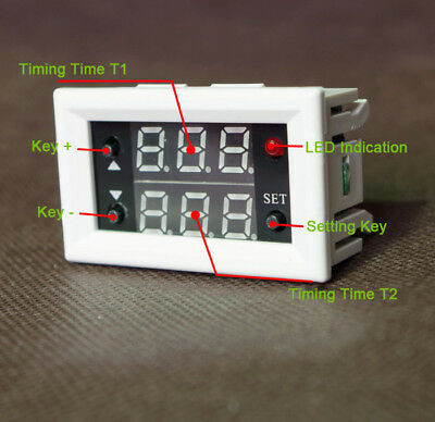 Dual LED Digital Display Timing Delay Cycle Function Relay Module 12V 20A