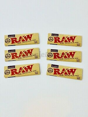 Raw Rolling Papers Unrefined Classic 1 1/4 Size Cigarette 6 Packs