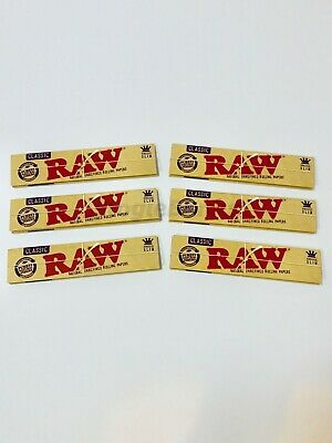 Raw Rolling Papers Unrefined Classic Kingsize Slim Cigarette 6 Packs