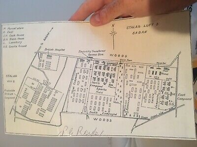 GREAT ESCAPE AUSTRALIAN PILOT Paul Royle Signed STALAG LUFT III MAP - #57 OUT
