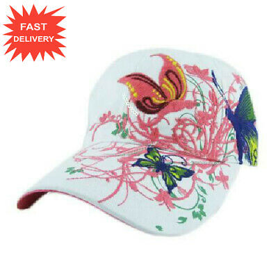 NEW!! Baseball Cap For Women With Butterflies And Flowers Embroidery Adjustable