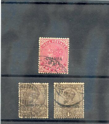 INDIA (CHAMBA) Sc 2,52,62(SG 2,65,77)F-VF USED 1887-1931 3 DIFF 1a VALUES  $21