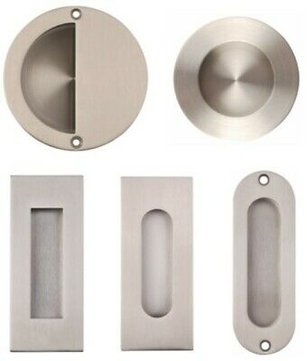Flush Pull / Recessed Sliding Door Handle Round Square Oval Oblong In SSS Or PSS