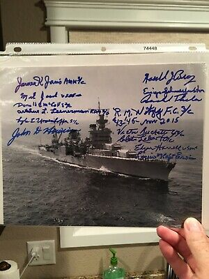14 DIFFERENT USS INDIANAPOLIS SURVIVOR SIGNED INDY SHIP 8x10 PHOTO
