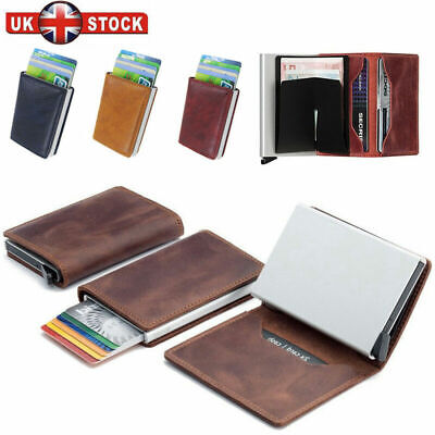Men Antitheft Wallet RFID Blocking Pop-up Leather Card Holder Metal Purse Gift L