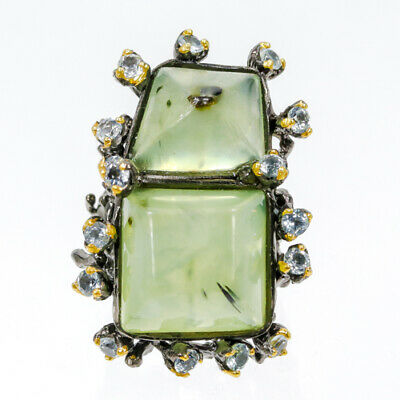Fine Art Ring28ct+  Natural Prehnite 925 Sterling Silver Ring Size 7.75/R42668