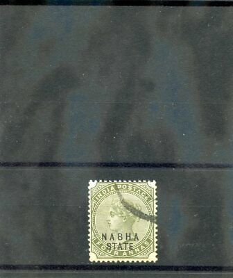 INDIA (NABHA) Sc 17(SG 23)F-VF USED 1888 4a OLIVE GREEN $12