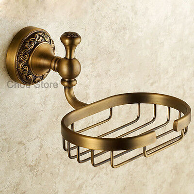 Antique Brass Shower Bathroom Room Wall Mount Soap Dish Holder Soap Rack Basket