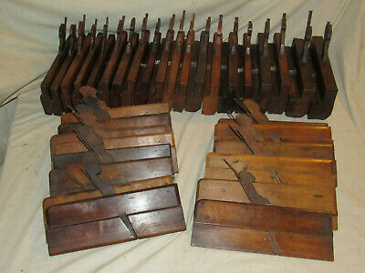 mixed lot 34 antique wooden hollow & round moulding planes woodworking old tools
