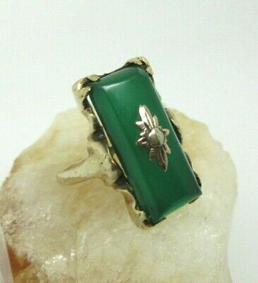 Antique ART DECO 10 K Yellow Gold GREEN ONYX Elongated RING - Size 6