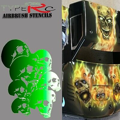 Airbrush Stencil For Rc Body, Skulls 2, Laser Cut, Reusable
