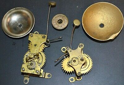 2 Antique Clock Alarm Movements w/ Bells & Alarm Disc