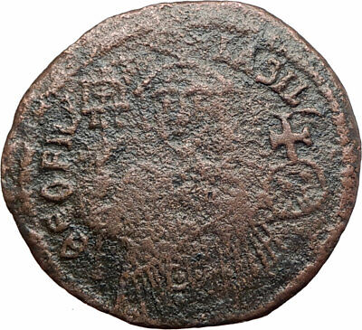 THEOPHILUS 835AD Victory vs ARABS Follis Authentic Ancient Byzantine Coin i80444