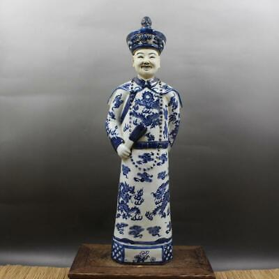Chinese ancient antique hand make Blue and white QIANLONG statue a1015