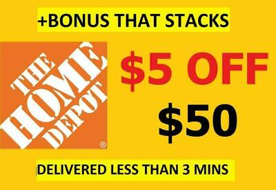 TWO 2X HOME DEPOT $5 off50 Coupons2 -InStore -EPIC Delivery +Stacking Bonus