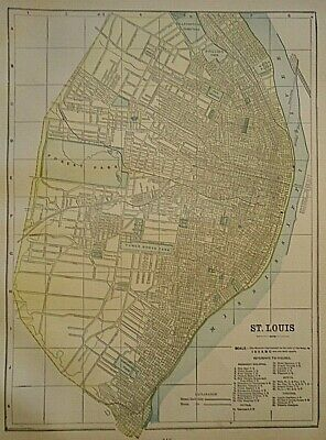 Vintage Circa 1891 ST. LOUIS MAP Old Antique Original & Authentic ~ Free S&H
