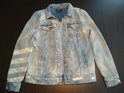 Girls denim jacket size XL, distressed look with guitar on back