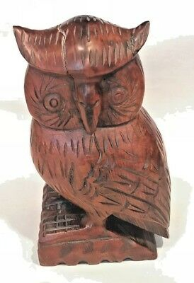 "Vintage Hand Carved Wood Owl Figure 8 1/4"" Tall X 4 1/2"""