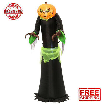 Halloween Inflatable Pumpkin Reaper Lights Up 5 ft Outdoor Yard Decor Spooky