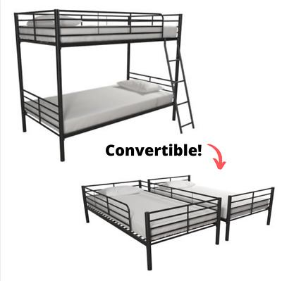Bunk Beds For Kids Bed Frame Twin Stackable Convertible College Dorm Black Metal