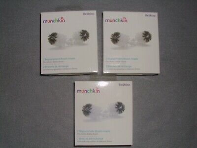 (3) three Munchkin 2 Piece REShine Stainless Steel Bottle Brush Heads Refills